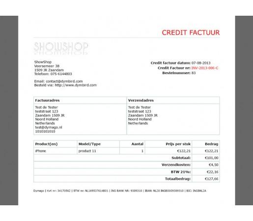 Credit facturen v1.5.3 - 1.5.5.1