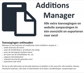 Additions Manager + onkosten export